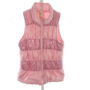 Faded Glory L 10-12 Vest Puffer Girls Pink Sequin